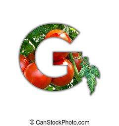 alfabet, gemaakt, van, vers fruit