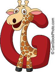 alfabet, giraffe, spotprent, g