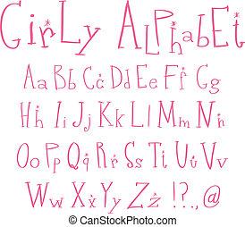 alfabet, girly