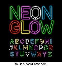 alfabet, glöd, neon, svart