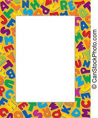 alfabet, goud, achtergrond, frame
