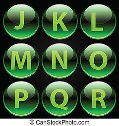 alfabet, groene, glanzend, brieven, (j-r)