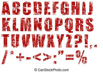 alfabet, grunge