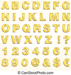 alfabet, guld, vektor, gyllene, brev