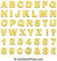 alfabet, gyllene, guld, brev, vektor