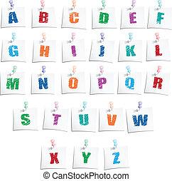 alfabet, hæve, hænder