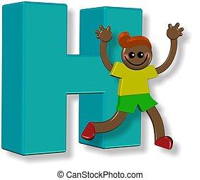 alfabet, h, jongen