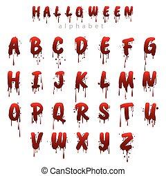 alfabet, halloween, bloedig