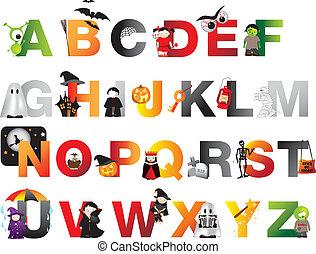 alfabet, halloween