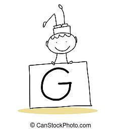 alfabet, hand, spotprent, geluk, tekening
