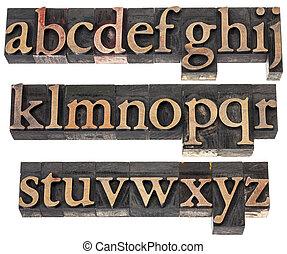 alfabet, hout, type