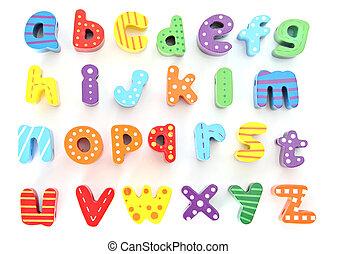 alfabet, houten