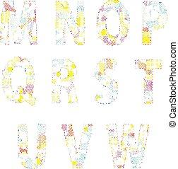 alfabet, ilustracja, twórczy, jasny, wektor, komik, rysunek