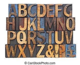 alfabet, in, antieke , hout, type