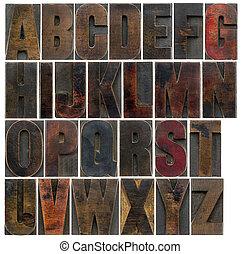 alfabet, in, gammal, mörk, ved, typ