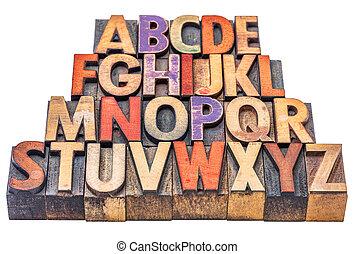 alfabet, in, letterpress, hout, type