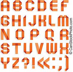 alfabet, ineengevouwen , van, papier kleurde, -, sinaasappel, brieven