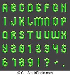 alfabet, isometric, getallen