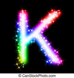 alfabet, k, -, barwny, litera