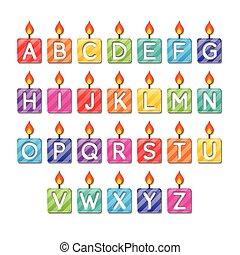 alfabet, kaarsjes