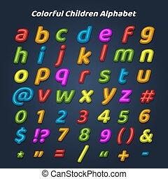 alfabet, kinderen, kleurrijke