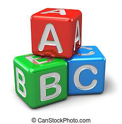 alfabet, kleur, blokje