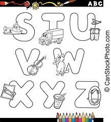 alfabet, kleuren, spotprent, pagina