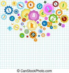 alfabet, kleurrijke, achtergrond