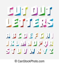alfabet, knippen, brieven, uit