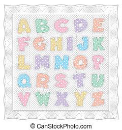 alfabet, kołdra, pastel, wielokropek polki