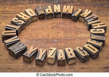 alfabet, koło, w, rocznik wina, letterpress, drewno, typ