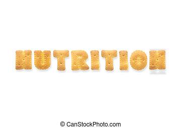alfabet, koekje, brief, cracker, nutrition., woord