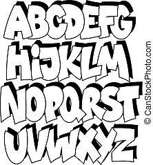 alfabet, komik, graffiti, rysunek