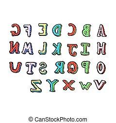 alfabet, komik, rysunek