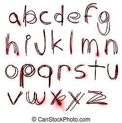 alfabet, komplet, neon