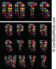 alfabet, kropkuje, kolor, na, czarne tło