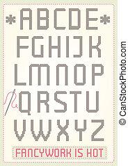 alfabet, kruis, steek