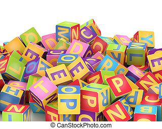 alfabet, kubus, stapel