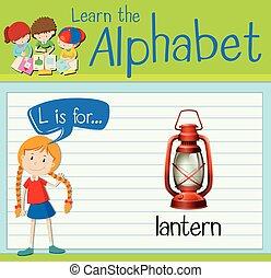 alfabet, latarnia, l, flashcard