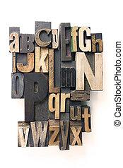 alfabet, letterpress