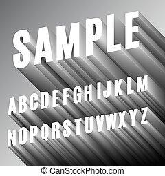 alfabet, lettertype, 3d