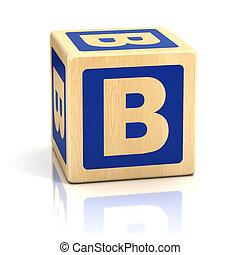 alfabet, lettertype, b, brief, blokje