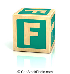 alfabet, lettertype, f, brief, blokje