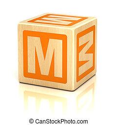 alfabet, lettertype, m, brief, blokje