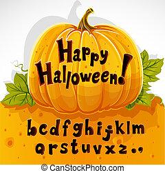 alfabet, lowercase, lægge på hylden, pumpkin