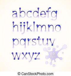 alfabet, lowercase, wektor, atrament