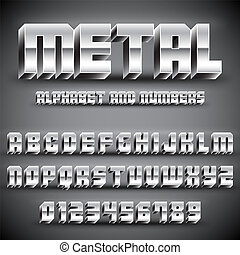 alfabet, metaal, getallen