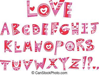 alfabet, miłość