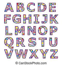alfabet, mozaïek