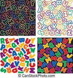 alfabet, neon, achtergrond, motieven